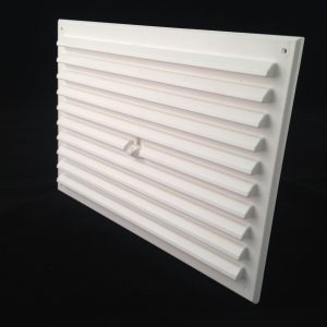HM96-WH (WHITE 9x6 HIT AND MISS LOUVRED VENT) ANGLE 1