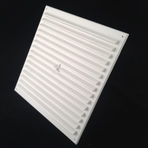 HM99-WH (WHITE 9x9 HIT AND MISS LOUVRED VENT) ANGLE 1
